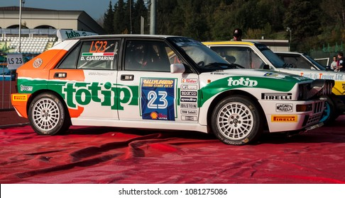 SAN MARINO, SAN MARINO - OTT 21 -2017 :LANCIA DELTA INT 16V 1994 old racing car rally THE LEGEND 2017 the famous SAN MARINO historical race