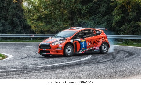 SAN MARINO, SAN MARINO - OTT 21 : FORD FIESTA R5 orange  old racing car rally THE LEGEND 2017 the famous SAN MARINO historical race
