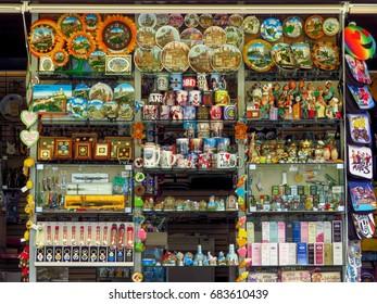 San Marino, San Marino Republic - June 16, 2017: Assortment souvenirs in the street shop in San Marino