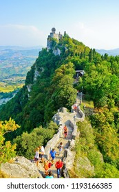 San Marino - September 12, 2016 : View of the Cesta tower located on the Monte Titano in San Marino on September 12, 2016. The country is situated inside Italy and the 5th smallest in the world.