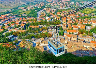 San Marino - September 12, 2016 : View of the aerial tramway to Monte Titano in San Marino on September 12, 2016. The country is situated inside Italy and the fifth smallest country in the world.