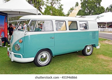 SAN MARINO/CALIFORNIA - JUNE 12, 2016: A vintage Volkswagon Bus parked in a park in San Marino, California USA