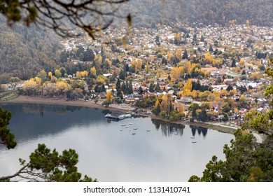 San Martin de los Andes seen from the viewpoint Arrayan, Neuquen, Argentina.
