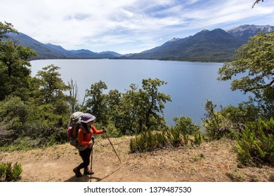 SAN MARTIN DE LOS ANDES, NEUQUEN, ARGENTINA - JANUARY 13 2019: trail between Chachin and Ruca Nire in Lanin National Park, Patagonia