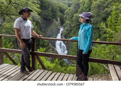 SAN MARTIN DE LOS ANDES, NEUQUEN, ARGENTINA - JANUARY 12 2019: Chachin waterfall in Lanin National Park, Patagonia