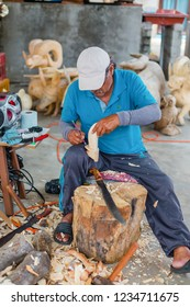 San Martin Tilcajete, Oaxaca / Mexico - September 19th, 2018: Artists of the woodcarving artisan village of San Martin Tilcajete