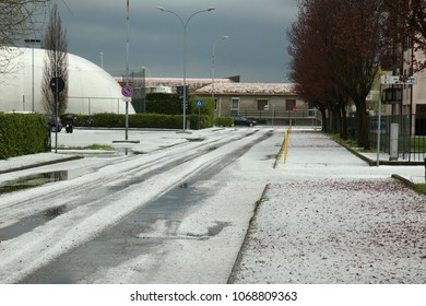 San Martino Siccomario Pavia, Italy - 04/12/2018: Hail and storm in Pavia
