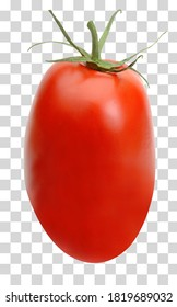 San Marzano, plum or Roma tomato  isolated on transparent background including clipping path.