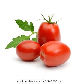 San Marzano, plum or Roma tomatoes with leaves isolated on white background