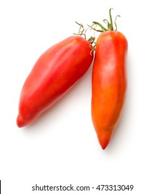 San Marzano tomato isolated on white background.