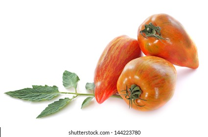 San Marzano tomatoes in front of white background