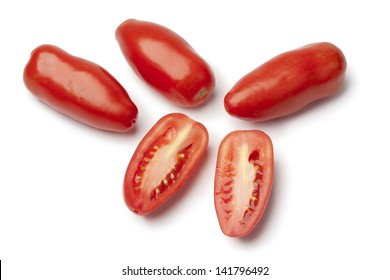 San marzano Tomatoes on white background