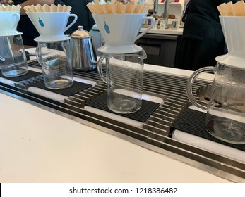 San mateo CA October 20 2018:Blue Bottle coffee company recently bought out by Nestle displaying pour over coffee