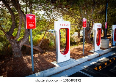 SAN MATEO, CALIFORNIA, USA - February 10, 2019: Tesla super charging station near Target  that allows Tesla cars to be fast-charged at the network within an hour. Tesla Motors Inc. based in Palo Alto.