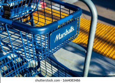 SAN MATEO, CALIFORNIA / USA - MARCH 3, 2020: Marshalls store entrance and logo. Marshalls is a chain of American off-price department stores owned by TJX Companies.