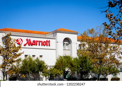 SAN MATEO, CALIFORNIA / USA - October 10, 2018: Sign Marriott on the hotel. Marriott International, Inc. is an American diversified hospitality company that manages and franchises hotels.