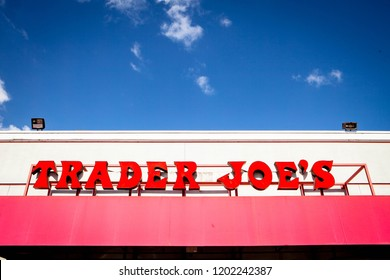 SAN MATEO, CALIFORNIA / USA - October 10, 2018: Trader Joe's exterior and sign. Trader Joe's is an American privately held chain of specialty grocery stores headquartered in Monrovia, California.