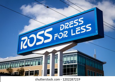 SAN MATEO, CALIFORNIA / USA - October 10, 2018: Ross store entrance and logo. Ross Stores is an American chain of off-price department stores.