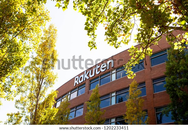 SAN MATEO, CALIFORNIA / USA - October 10, 2018: A logo sign of Rakuten outside of the headquarters. The company is a Japanese electronic commerce and Internet company based in Tokyo, founded in 1997