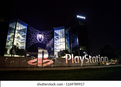 SAN MATEO, CALIFORNIA / USA - September 2, 2018: Marvel's SpiderMan logo with a web on the Sony PlayStation USA office building.