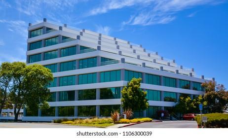 San Mateo, CA/USA - Jun. 5, 2018: Architecture, modern office building, San Mateo, CA