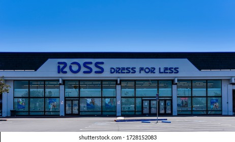San Mateo, CA/USA - May 10, 2020: Ross Stores branch in San Mateo, CA. Ross Stores is chain of deeply discounted department stores.