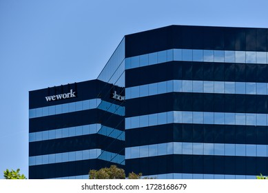 San Mateo, CA/USA - May 10, 2020: WeWork business building. WeWork is a commercial real estate company that provides shared workspaces for technology startups.