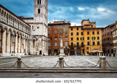 San Michele square in Lucca, Tuscany, Italy