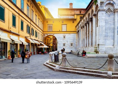 San Michele square in old Lucca, Tuscany, Italy. Lucca landmark