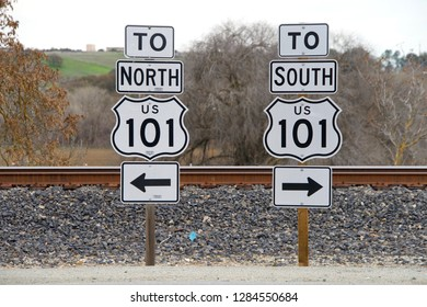 San Miguel, CA - January 13, 2019: Signs for 101 North and South freeway. A north  south U.S. Numbered Highway that runs through the states of California, Oregon and Washington on the West Coast.