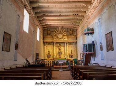 San Miguel, California - July 20, 2019: Interior of Church of Mission San Miguel Arcángel.