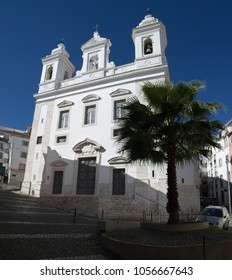 San Miguel church behind a palm tree and cobblestone streets in Alfama disctrict, the most famous and ancient typical neighborhood of Lisbon. Portugal.
