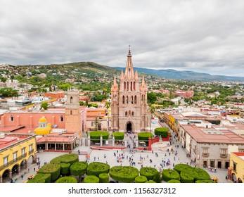 San Miguel de Allende aerial view in Central Mexico
