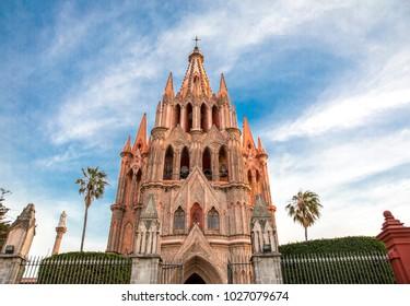 SAN MIGUEL DE ALLENDE, GUANAJUATO, MEXICO, February 2018, Exterior of the San Miguel Arcángel Parish in the main square.