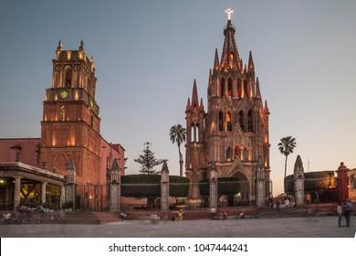 San Miguel de Allende, Guanajuato, Mexico; february, 2017: Saint Michael Arcangel Church, in San Miguel de Allende; Parroquia San Miguel Arcangel