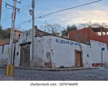 San Miguel de Allende, Guanajuato / Mexico - February 15 2016: Historic street corner store in San Miguel de Allende