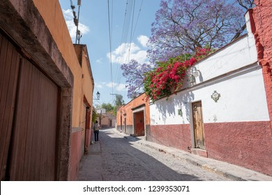 San Miguel de Allende, Guanajuato / Mexico - March 8, 2018: Alleys and streets of San Miguel Allende colonial town.