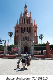 San Miguel de Allende, Guanajuato, Mexico - 2019: Parroquia de San Miguel Arcángel is a neo-gothic style church located at the town's zocalo