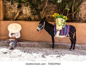 SAN MIGUEL DE ALLENDE, GUANAJUATO / MEXICO - 06 27 2017: Man with revolutionary traditional mexican costume and donkey