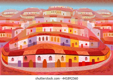 San Miguel de Allende Houses on a Hill Illustration in Folk Art Style
