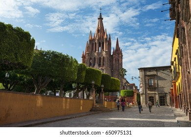 San Miguel de Allende, Mexico - May 28, 2014: View of the main square and of the San Miguel Church in the historic center of the city of San Miguel de Allende, Mexico.