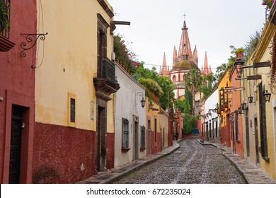 San Miguel De Allende Street-scape in Mexico - Colonial World Heritage Site