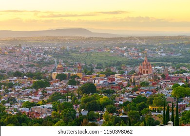 San Miguel de Allende view of the town at sunset or twilight