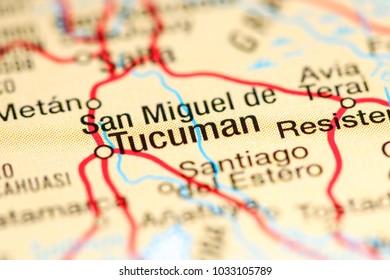 San Miguel de Tucuman. Argentina on a map