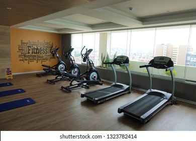 San Miguel, Lima, Peru - February 25, 2019: Fitness Center in Concept Magic Ocean Apartments.