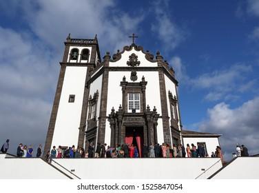 San Miguel, Portugal - September 15, 2019: people gathering for a ceremony on Church of San Pedro (Igreja de Sao Pedro) in Ponta Delgada, Azores, Portugal