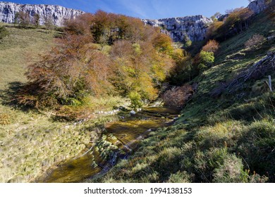 San Miguel waterfall in the Angulo valley is the limit between Losa Valley and Mena Valley, close to Peña Angulo peak, in The Merindades, Burgos, in the north of Spain.  - Shutterstock ID 1994138153