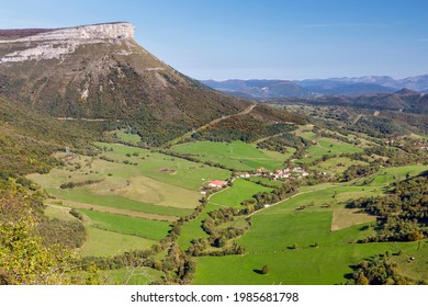 San Miguel waterfall is the limit between Losa Valley and Mena Valley, close to Peña Angulo peak, in The Merindades, Burgos, in the north of Spain.  - Shutterstock ID 1985681798