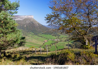 San Miguel waterfall is the limit between Losa Valley and Mena Valley, close to Peña Angulo peak, in The Merindades, Burgos, in the north of Spain.  - Shutterstock ID 1985681807