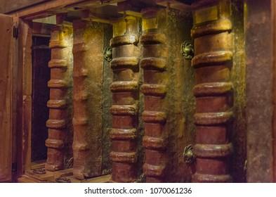 San Millan de la Cogolla , Spain - January 4, 2014: Medieval bookshelf in the Monastery of San Millan de Yuso. The Monastery of San Millan de Yuso is a UNESCO World Heritage Site.